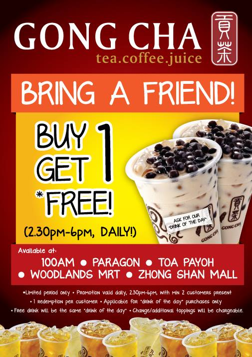 Gong Cha 1-For-1 Promotion