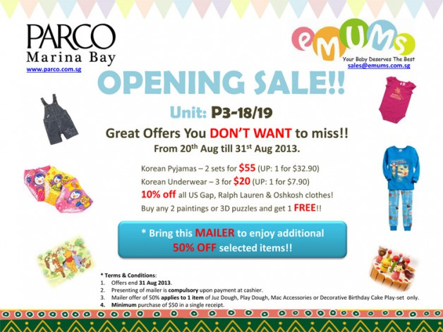 eMUMs Parco Marina Bay Opening Promotion