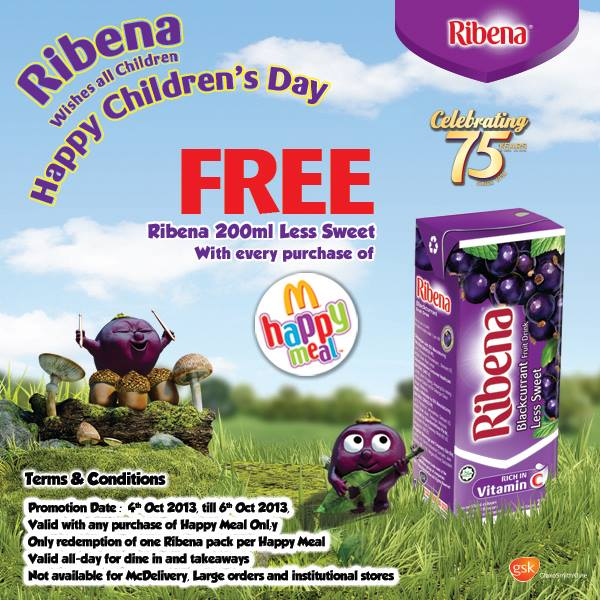 Mac Happy Meal Free Ribena