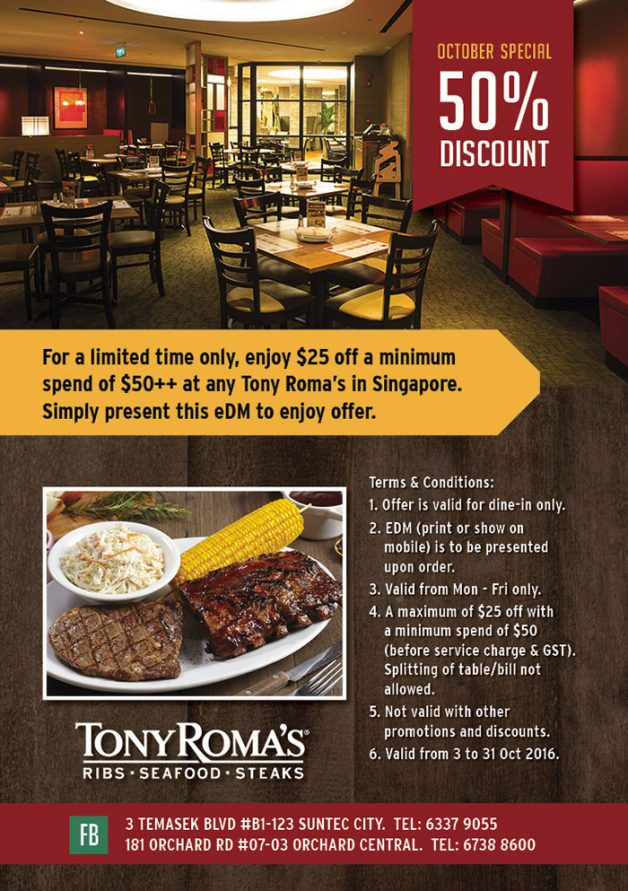 tony-roma-50-percent-off-discount-promo-october-2016