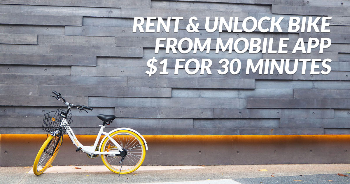 You can now rent a bicycle easily with oBike mobile app | Great Deals Singapore