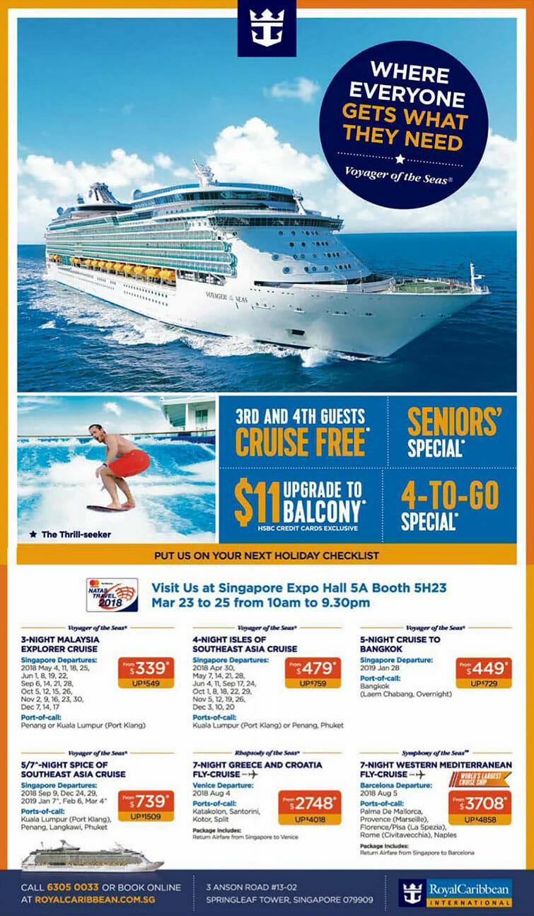 3rd and 4th guests cruise free in Royal Caribbean NATAS Deals at