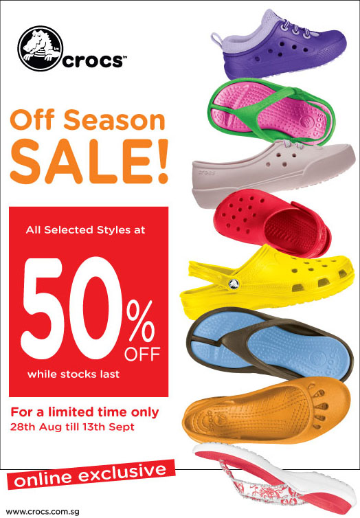 Crocs Online Exclusive 50% Off Season Sale