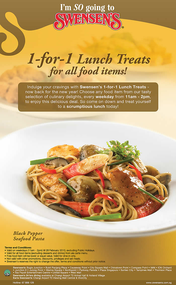 Swensens One-for-One Lunch Promotion