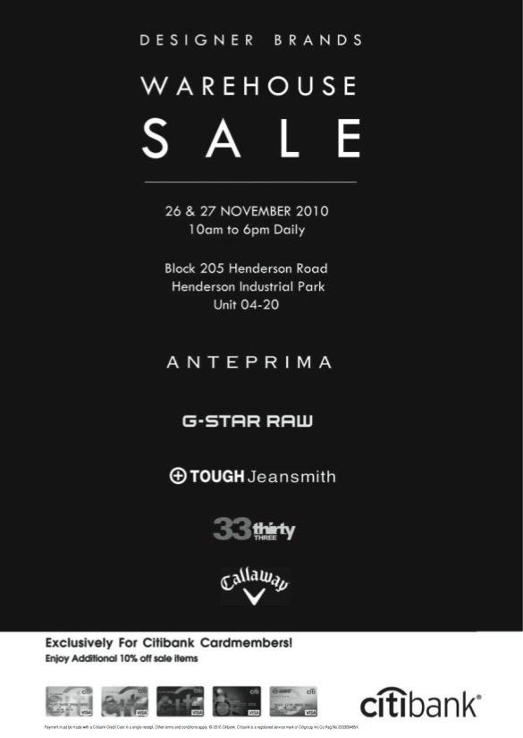 Designer Warehouse Sale: Anteprima, G-Star, TOUGH Jeansmith and more!
