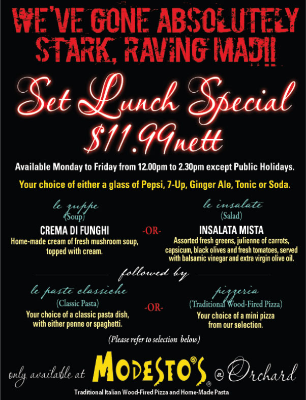 Modesto's Orchard Set Lunch Special