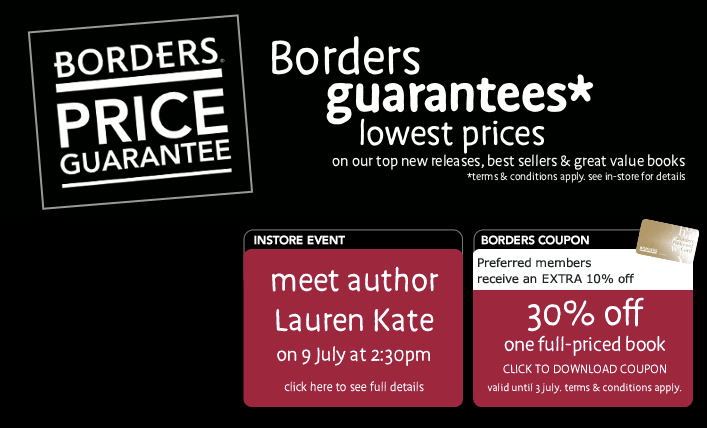 BORDERS 30% Off One Full-Priced Book