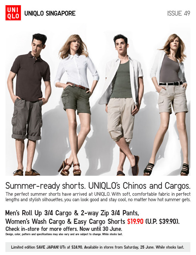 Uniqlo Cargo Pants & Chinos Shorts $19.90 Promotion