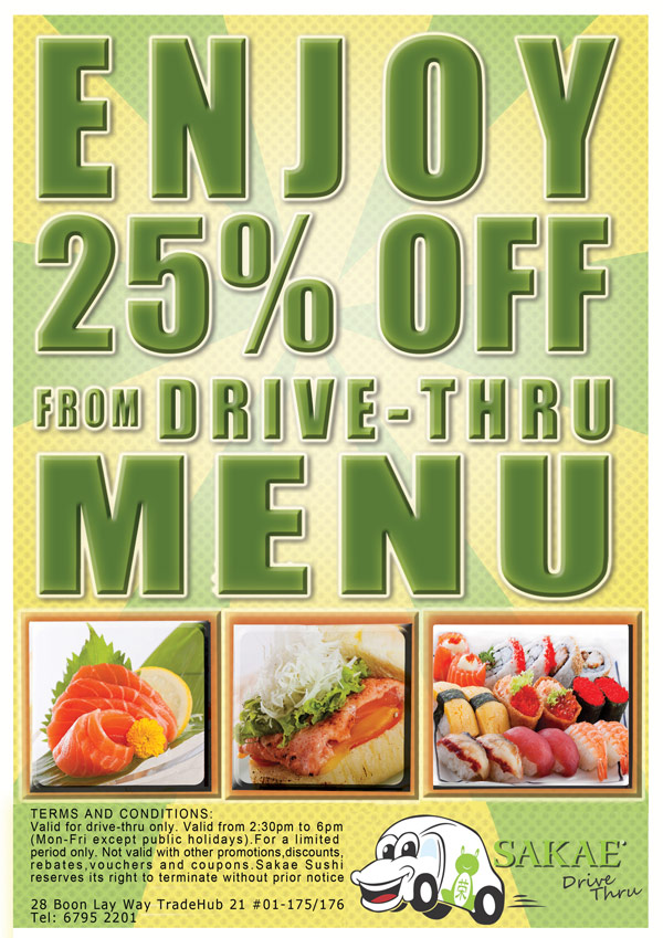 SAKAE Sushi 25% off Drive-Thru Menu
