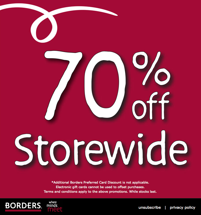 Borders Clearance Sale – 70% Off Storewide