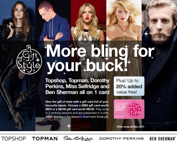 Extra Value Gift Cards at Topshop, Miss Selfridge, Ben Sherman and more!