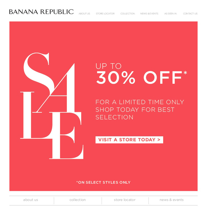 Banana Republic Year End Sale