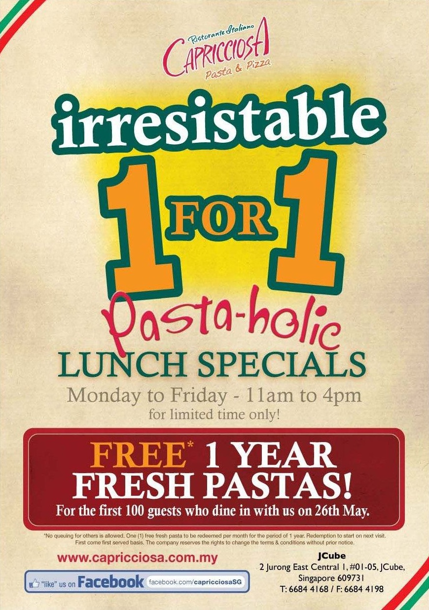 Capricciosa 1-for-1 Lunchtime Specials