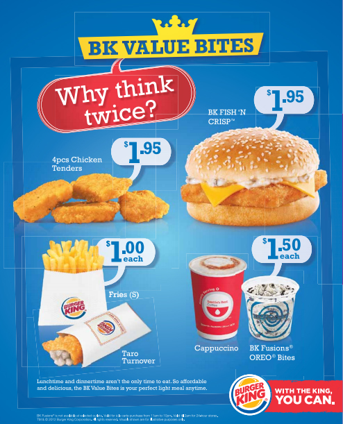 Burger King Value Bites All Day Special