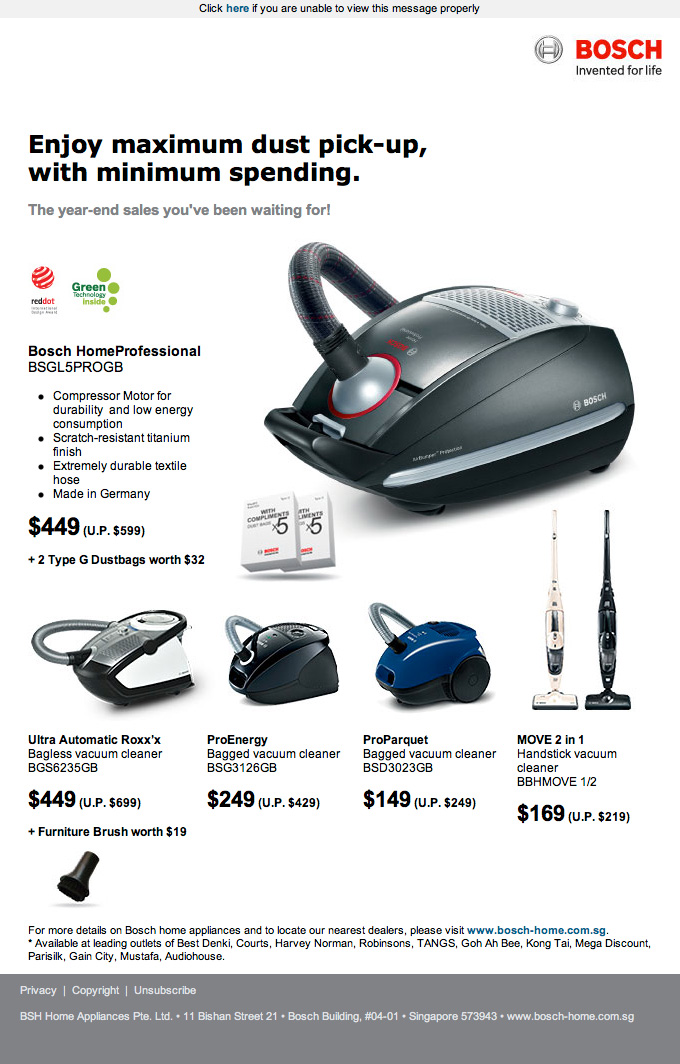 BOSCH Vacuum Cleaner Year End Sale