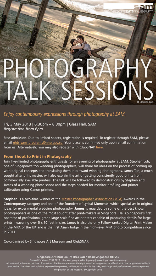 Free Photography Talk Session By Stephen Loh @ SAM