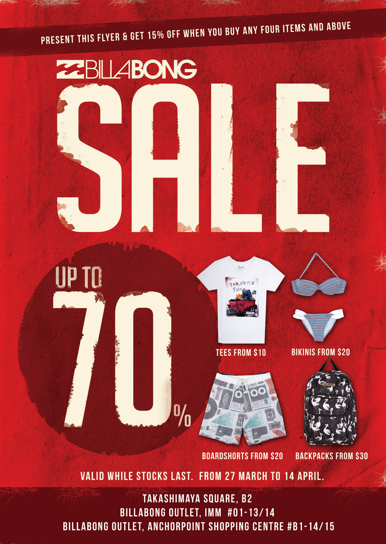 Billabong Sale, Additional 15% Discounts On 4 Items Up