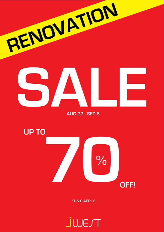 JWest Singapore 70% Off Shoes Renovation Sale @ Vivocity