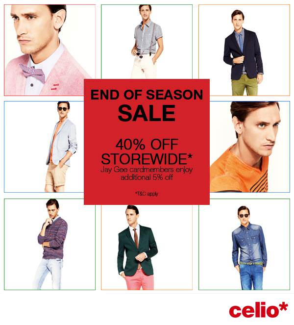 Celio* End Of Season Sale August 2013, 40% Off Storewide