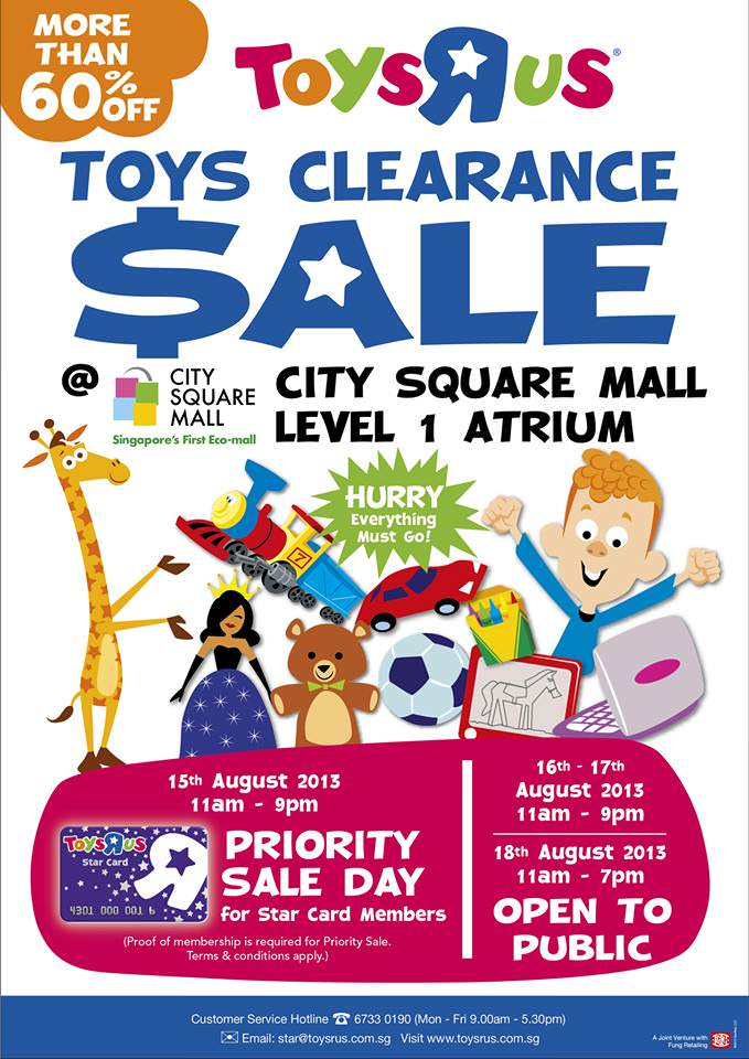 "Toys ""R"" Us Clearance Sale @ City Square Mall, More Than 60% Off Toys"