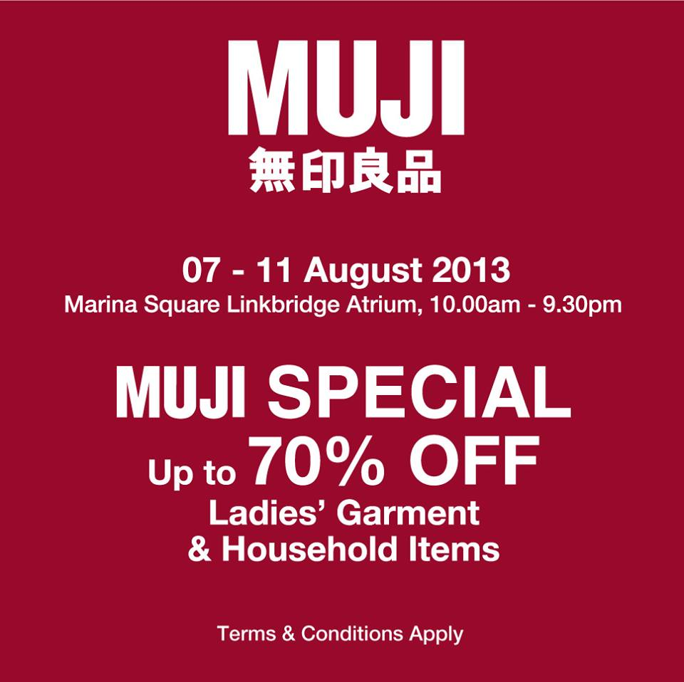 Muji Ladies Garments & Household Sale, Up To 70% Discounts