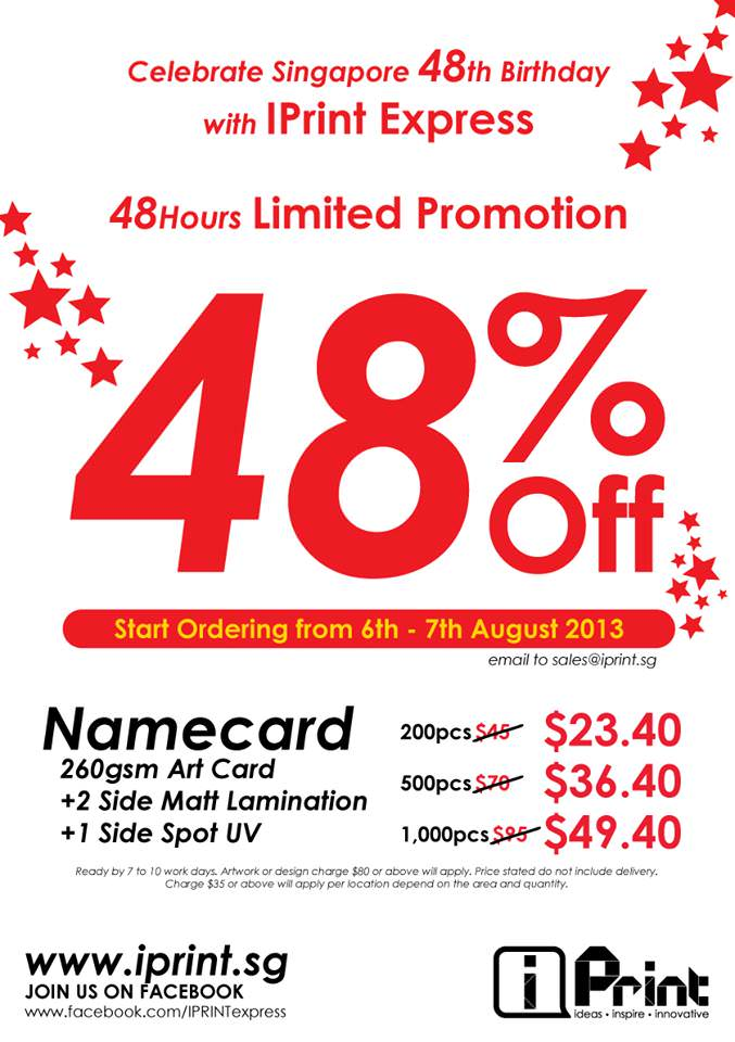 IPrint Express 48% Off Namecard Printing National Day Promo, $23.40 for 200pcs