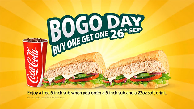 "[BOGO] Subway 1-For-1 ""Life Changing"" Promotion For One Day Only"