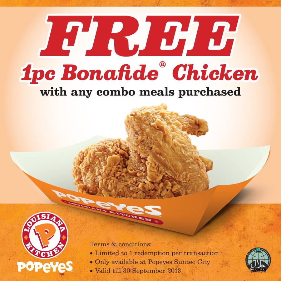 Popeyes Free Bonafide Chicken @ Suntec New Outlet