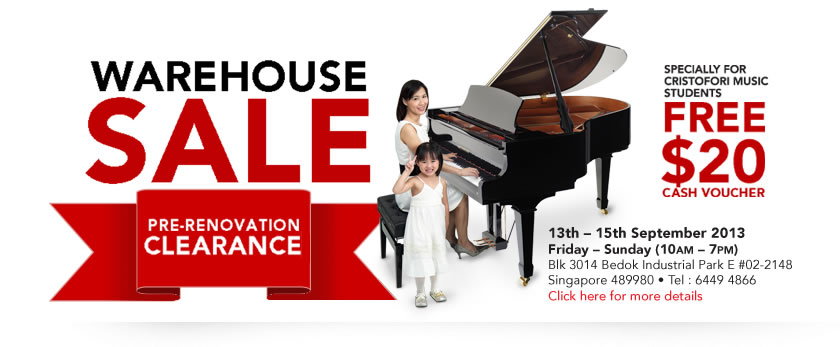 Cristofori Pre-Renovation Clearance Warehouse Sale, Member Students Get $20 Cash Vouchers