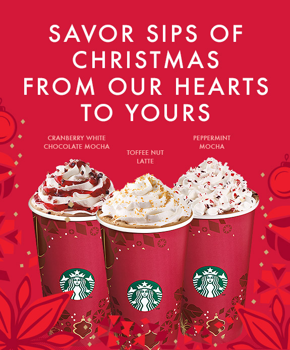 Starbucks Christmas Beverages Now Available – Cranberry White Chocolate Mocha, Toffee Nut Latte & Peppermint Mocha