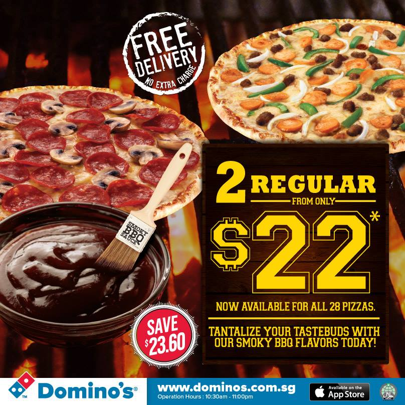 Domino's Pizza 2 Regular From $22 + Free Breadstix When You Self Collect