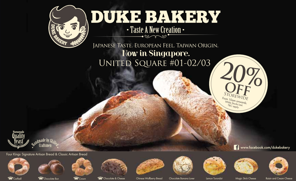 Duke Bakery Opening Promotion 20% Off Storewide Bread @ United Square
