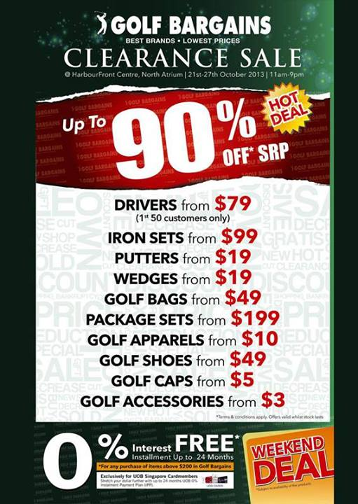 Pan-West Singapore Golf Bargains Clearance Sale @ HarbourFront Centre, Up To 90% Retail Prices