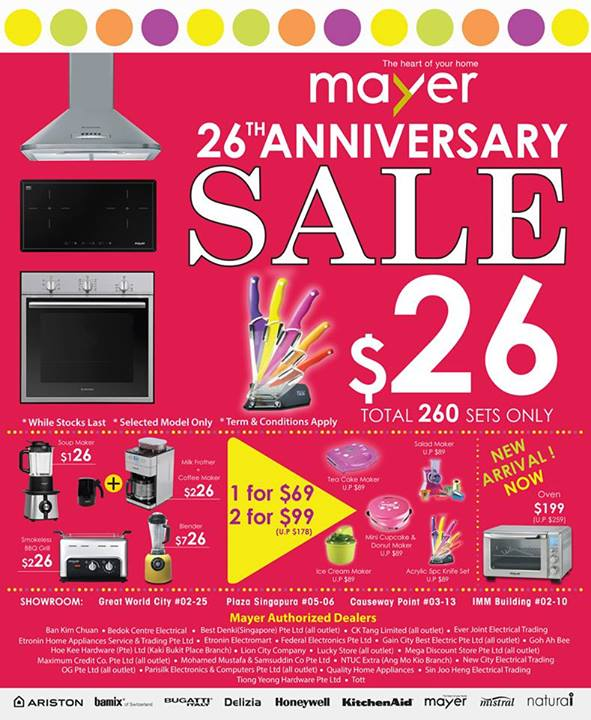 Mayer 26th Anniversary Sale October 2013, Kitchen Appliances & Accessories On Discounts
