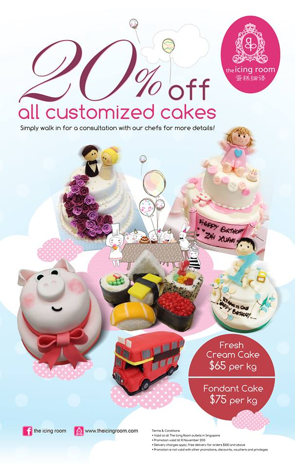 The Icing Room 20% Off All Customized Cakes Oct-Nov 2013 Special Promotion