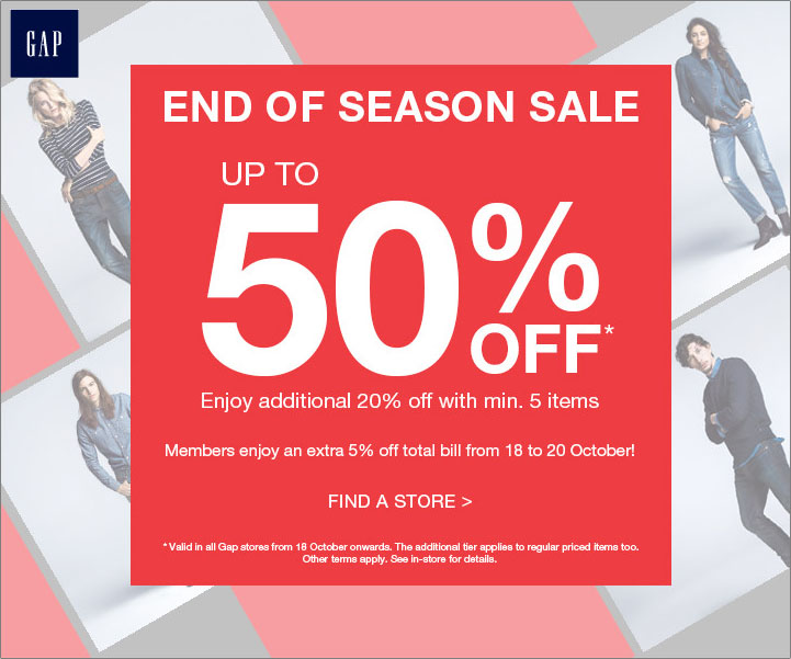 GAP End Of Season Sale Up To 50% Discounts Storewide Items October 2013