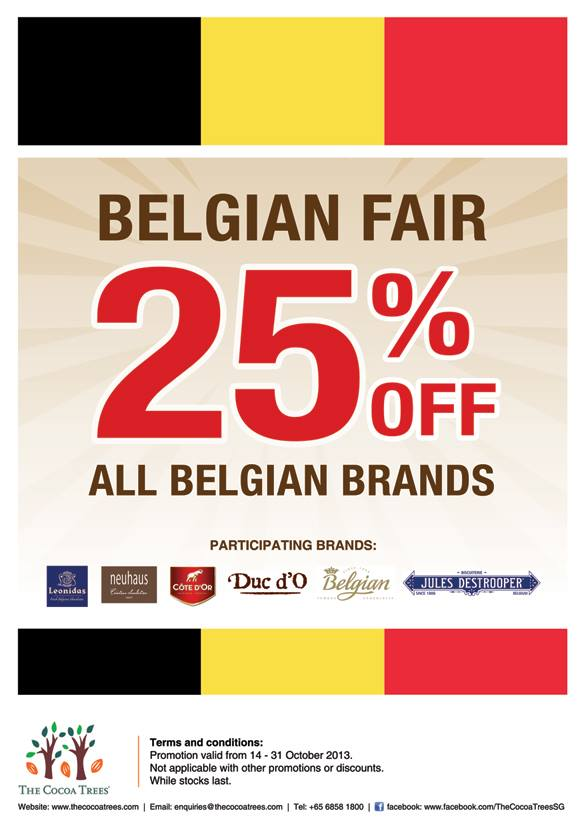The Cocoa Trees Belgian Fair October 2013, 25% Discount On All Belgian Brands