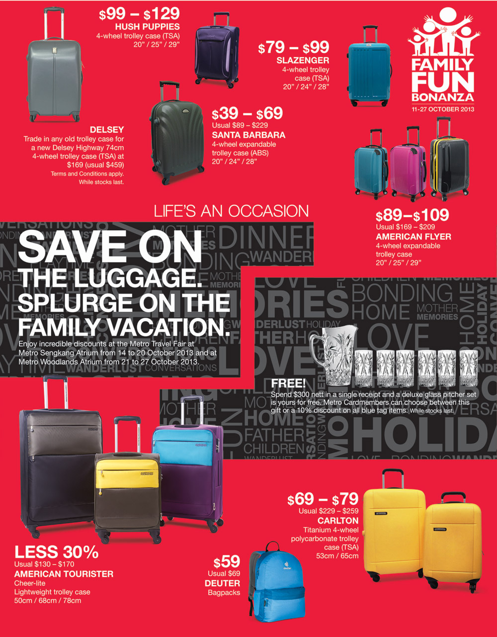 Metro Family Fun Bonanza October 2013 – Travel Luggages, Cosmetics, Baby Products & Ladies Handbags On Sale