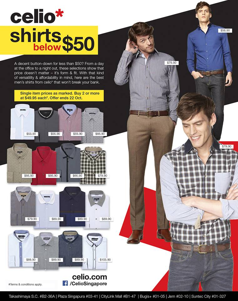 Celio* Shirts Below $50 When You Purchase 2 Or More October 2013 Promotion