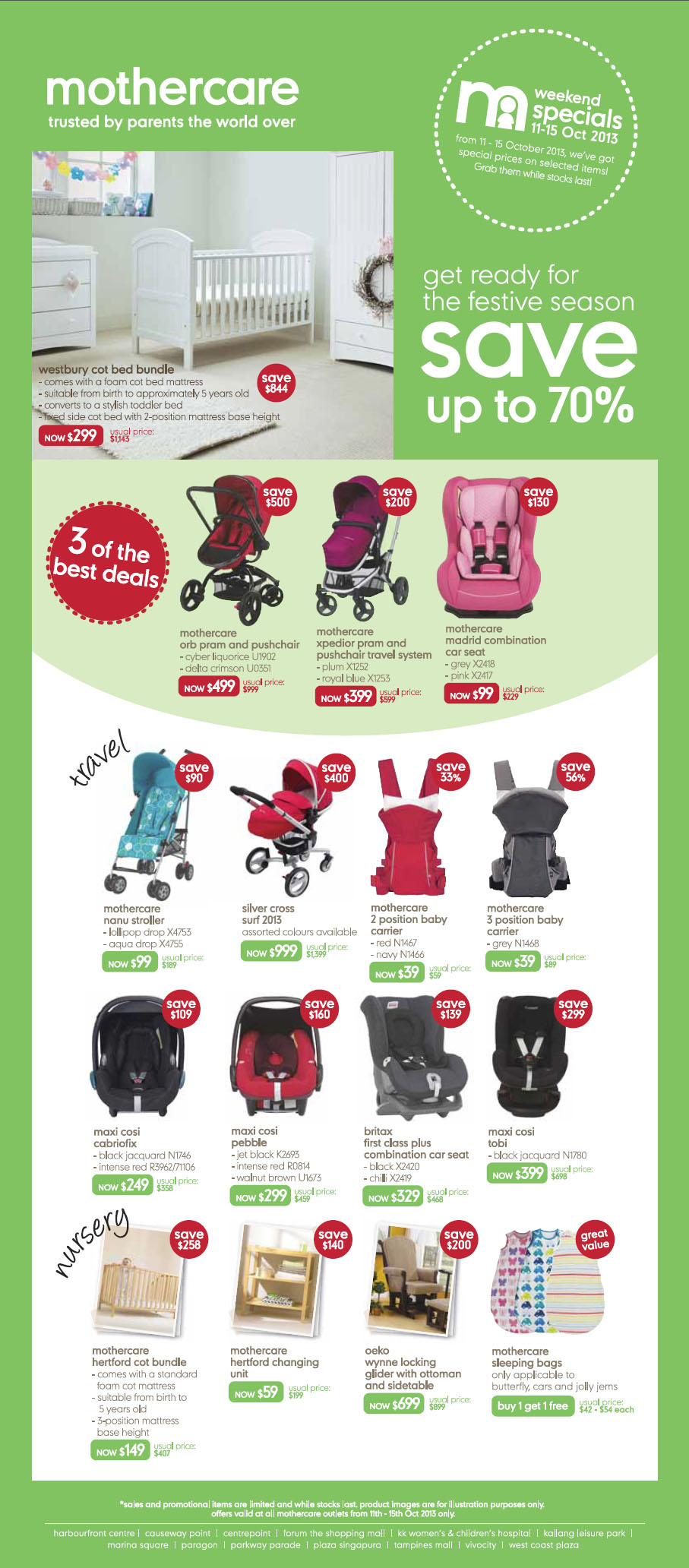 mothercare Weekend Specials 11-15th Oct 2013 – Save Up To 70% On Prams & Baby Carriers