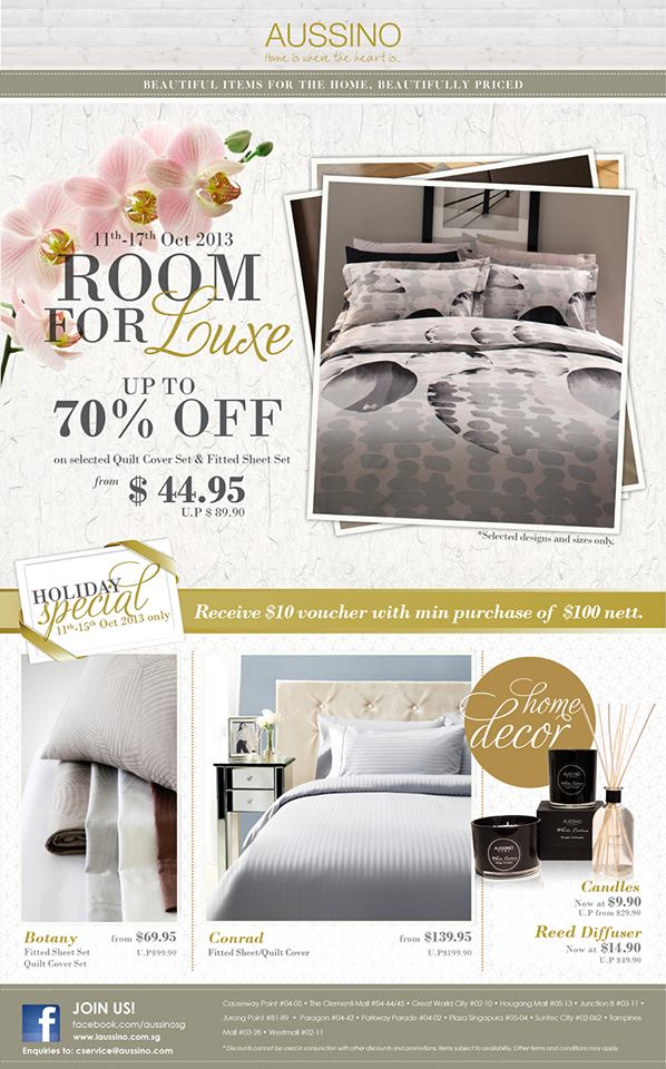 Aussino Room For Luxe Online Promotion Up To 70% Off Selected Quilt Cover Set & Fitted Sheet Set