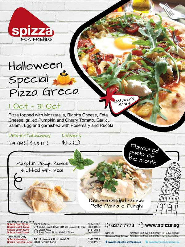 Spizza Halloween Special Pizza Greca Promotion, $23 For Large Size