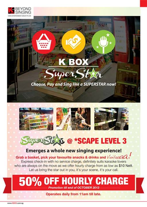 K Box Superstar 50% Discount Off Hourly Charge @ *SCAPE Level 3