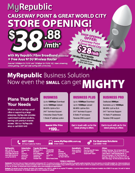MyRepublic Fiber Internet Store Opening Special @ Causeway Point & Great World City