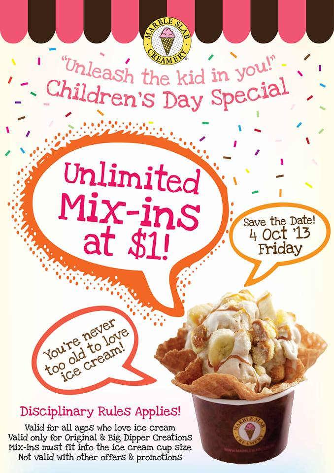 Marble Slab Creamery Children's Day Ice-Cream Special, $1 Unlimited Mix-Ins