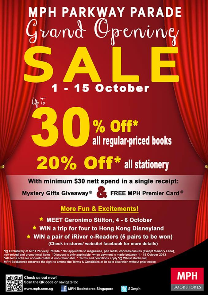 MPH Bookstores Parkway Parade Grand Opening Sale October 2013