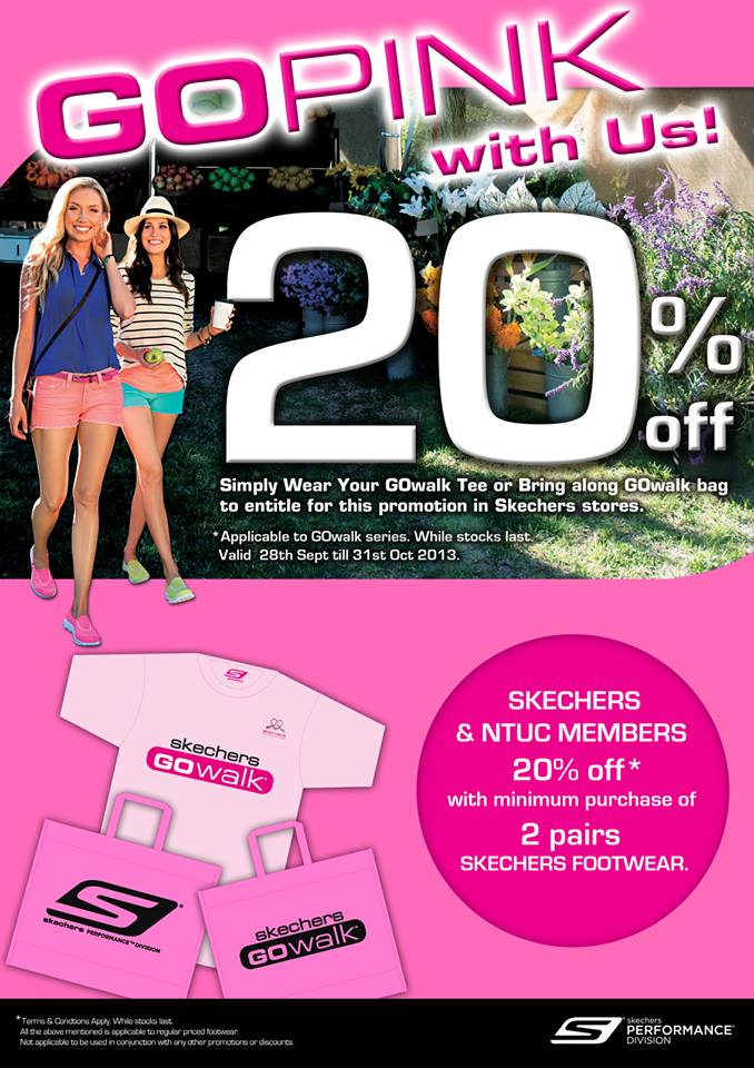 "Skechers ""GoPink With Us"" Promotion, 20% Discount With Your GOwalk Tee Or Bag"