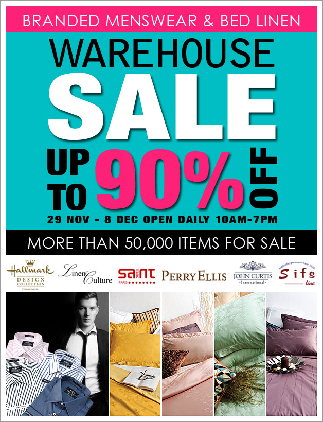 Branded Menswear & Bed Linen Warehouse Sale 2013: Up To 90% Off On Over 50,000 Items
