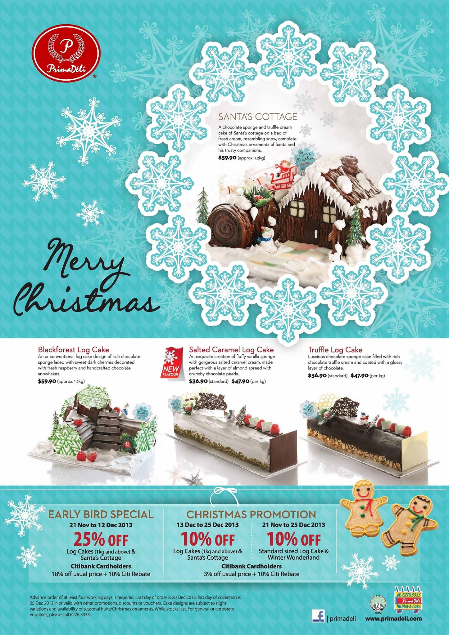 Prima Deli Christmas Log Cake Promotion 2013: 25% Discounts For Early Birds