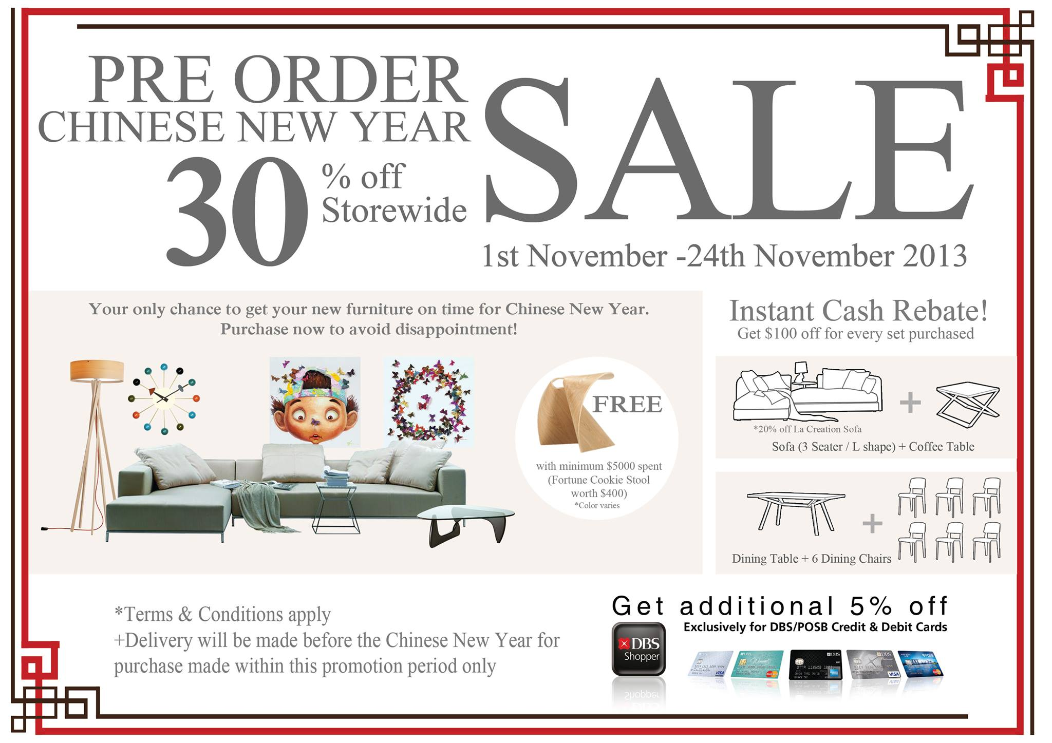 Lush Furniture Pre-Order Chinese New Year Sale 2014: 30% Off When You Order Before 24th Nov 2013